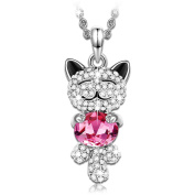 """J.NINA """"Luck Cat"""" Cute Animal Shaped Design Women Jewellery, Made with Pink Crystals Pendant Necklace"""