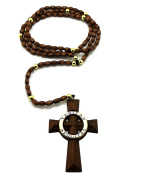 "Saints Cross Wooden Rosary 5mm & 39""wooden Ball Chain Necklace Brown Gold"