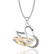 Osiana Swan Pendant Necklace Jewellery Gift With Crystal from Elements Platinum-Plated ,46cm