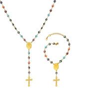 U7 Stainless Steel/18K Gold Plated St Benedict and Crucifix Charm Evil Eye Bracelet Rosary Necklace Set