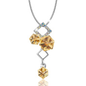 """Osiana """"Ice Cube""""18K White Gold Plated Fashion Pendant Necklace Made With Crystal 46cm"""