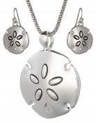 Highly Polished Sand Dollar Theme Pendant Necklace Set 46cm Popcorn Chain Earrings by Jewellery Nexus