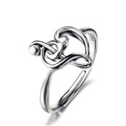 ASTRO Sterling Silver Treble Clef Bass Heart Music Note Ring For Women
