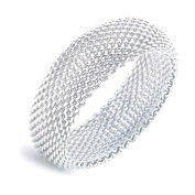 Sephla 925 Sterling Silver Plated Silky Chains Mesh Bangle Bracelet for Women
