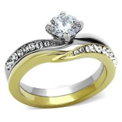 Women's Round Clear Cubic Zirconia Two-Tone Gold Stainless Steel Wedding Ring Set