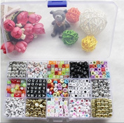 "Magnolian 1100pcs Mixed Acrylic Plastic Alphabet Beads,Assorted Colour Alphabet Letter ""A-Z"" Cube Beads for DIY Bracelets, Necklaces, Key Chains and Kid Jewellery"