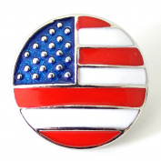 Lovmoment Round Snap Buttons with American Flag Chunks Interchangeable Jewellery