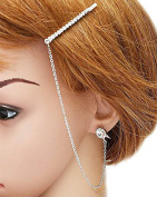 Head Jewellery ~ Crystal hair pin and chain link earring set