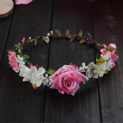 Merroyal Rose Flower Wreath Headband Floral Crown Garland Halo for Wedding Festivals