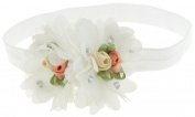 Capelli New York Infant Girls 2 Chiffon Flowers Head Wrap Ivory One Size