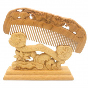 YOY Natural Wood Hair Comb - Handmade Antistatic No Snag Brush for Men's Moustache Beard Care Anti Dandruff Women Girls Head Hair Accessory, Peach