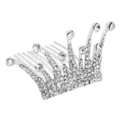 LY8 Little Girls Beautiful Hair Tiara Crown Silver Tone Clear Crystal Wedding Bridal Party Favour Jewellery