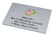 Rikki Knight Funny Okay! So a Monkey Could.. Large Glass Cutting Board