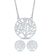 Tree of Life Necklace and Earring Set Stainless Steel Silver-Tone, 46cm