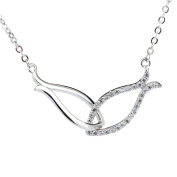 Ginasy Women's 925 Sterling Silver Double Fish Style Rhinestone Pendant Necklace