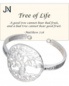 Tree of Life - Matthew 7:18 Inspirational Hammered Cuff Bracelet with Prayer Card by Jewellery Nexus