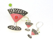 Crystal Martini Glass Dual Function Brooch & Pendant Popcorn & Necklace & Earring Set