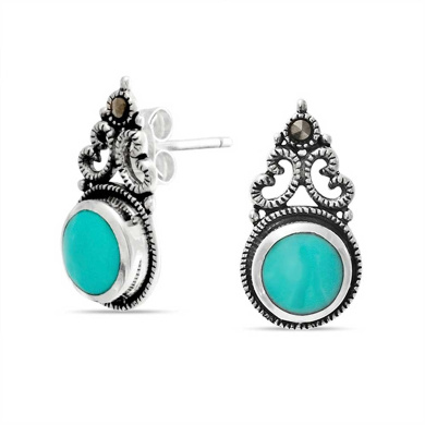 Bling Jewellery Bali Style Silver Synthetic Turquoise Stud Earrings