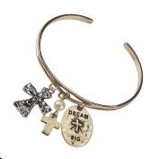 Dream Big Thin Cuff Bracelet with Cross Charms & Imitation Pearl by Jewellery Nexus