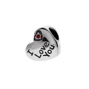 "T400 Jewellers ""I Love You"" 925 Sterling Silver Love Gift Heart Bead Charms Fits European Style Bracelets"