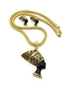 """Women's Egyptian Queen Nefertiti Pendant 4mm 18"""" Franco Chain Necklace & Pierced Earring Set in Gold Black Tone"""