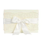 Custom Made Luxury Wedding Ivory Chantilly Lace Guest Book with Satin Ribbon Accent