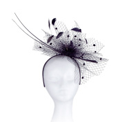 Occasion Hats for Women, Slim, Simple, Netted Fascinator for Weddings or the Races, with Double Peacock Quills. Velvet Balls on the net with Sprigs of Sequins and Feathers. Six Stunning Colour Options, White, Black, Royal Blue, Champagne, Turquoise, He ..