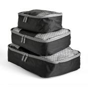 Travel Packing Cubes Set (3 Piece), Ideal for Travel and Closet Organiser (Dark Grey)BIG SAVING!
