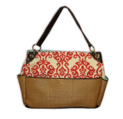 Caught Ya Lookin' Chic Nappy Bag, Coral Fleur De Lis and Straw