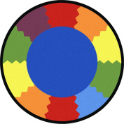 Joy Carpets Kid Essentials Early Childhood Round Block Party Rug, Multicoloured, 1.5m