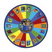 Joy Carpets Kid Essentials Language & Literacy Round Read All About It Rug, Multicoloured, 2.1m