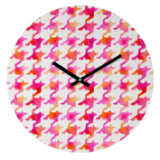 DENY Designs Betsy Olmsted Watercolour Houndstooth Round Clock, 30cm Round