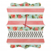 DENY Designs Allyson Johnson Floral Stripes And Arrows Quatrefoil Clock, Small