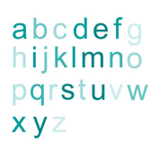 WallCandy Arts Peel-and-Stick Removable Wall Decals, Tinted Teal Ombre Alphabet Wall Stickers