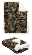 Highland Camo and White Soft Sherpa Baby Blanket with Coral Fleece