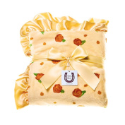 Max Daniel Designs Lemon Blossom Child Blanket - Double Sided Plush with Butter Satin Ruffle