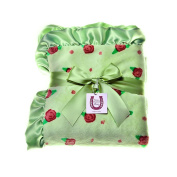 Max Daniel Apple Blossom Child Blanket- Double Sided Plush with Celery Satin Ruffle