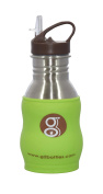 Goo Goo Baby Improved G2 WAVE Stainless Steel Drink Bottle with Silicone Sleeve & No-leak Flip Top Lid, Lime