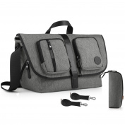 GAGAKU Large Messenger Nappy Bag for Dads with 17 Pockets – Heather Grey