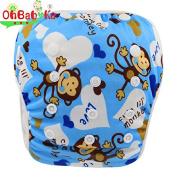 OHBABYKA One Size Baby Swim Nappy Pant Washable Swim Nappy Pool Pant Cute Monkeys