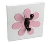 Flower Single Wall Hook, Dark Pink