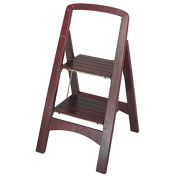 Step Stool with 2-step Wood Folding and Adds Durability, Brown