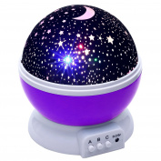 Lizber Baby Night Light Moon Star Projector 360 Degree Rotation - 4 LED Bulbs 9 Light Colour Changing With USB Cable