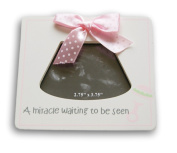 """White and Pink Baby Sonogram Frame - """"A Miracle Waiting to be Seen"""" - 13cm x 14cm"""