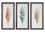 Tricolour Leaves Abstract Art, S/3