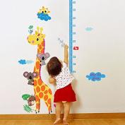 Misslight Cute Giraffe Height Growth Chart Wall Sticker Decal Paper with Bear Sun for Kids Room