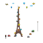Winhappyhome Eiffel Tower Kids Growth Chart Wall Art Stickers for Bedroom Living Room Nursery Background Removable Decor Decals