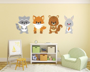 Set of Foxes Wall Decal - Woodland Bedroom Wall Decal - Baby Decoration - Nursery Wall Decals - Fox Bunny Squirrel Decor Vinyl Sticker