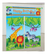 JUNGLE ANIMALS Scene Setter HAPPY BIRTHDAY party wall decoration kit over 1.8m zoo