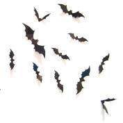 SMTSMT 12pcs Black 3D DIY PVC Bat Wall Sticker